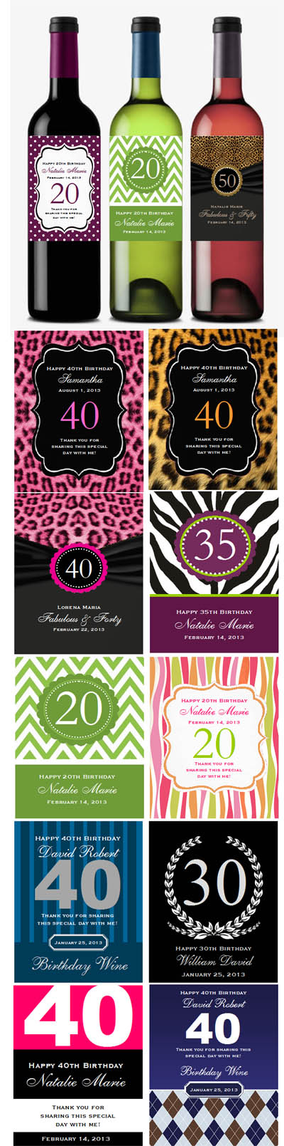 personalized wine bottle labels for birthday ; Birthday-Wine-Bottle-Labels-Details