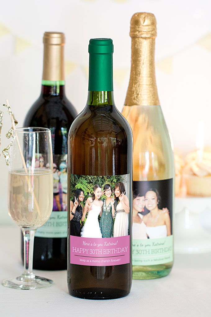 personalized wine bottle labels for birthday ; MBW2