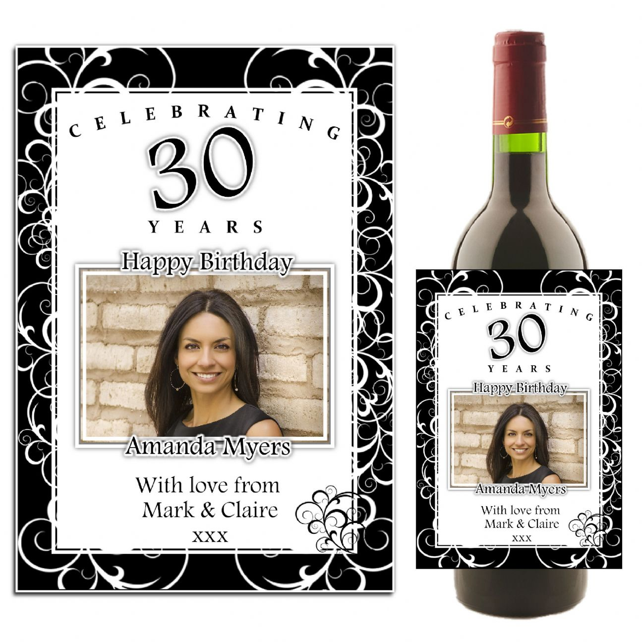 personalized wine bottle labels for birthday ; personalised-black-white-swirls-happy-birthday-wine-champagne-bottle-photo-label-n35-12586-p