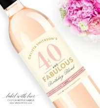 personalized wine labels 40th birthday ; 204x220xwine18d