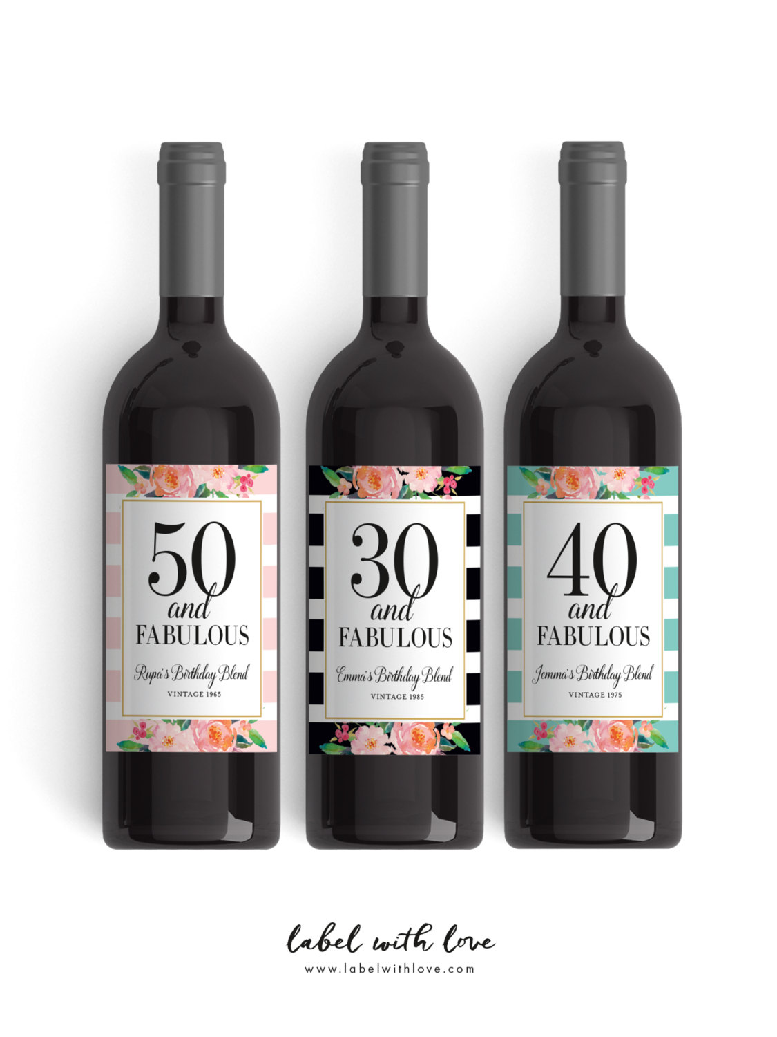 personalized wine labels 40th birthday ; il_fullxfull