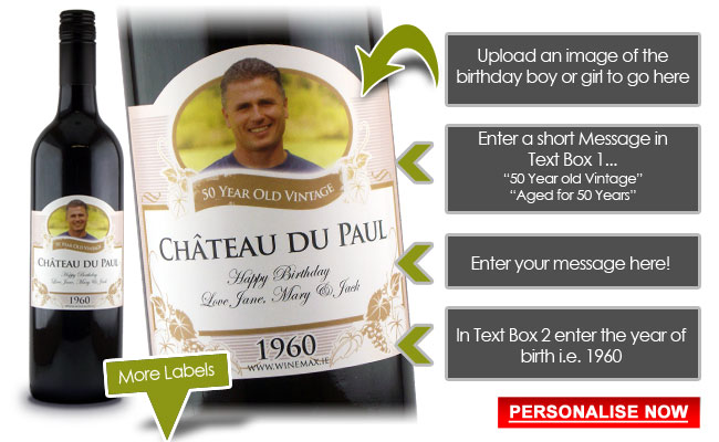 personalized wine labels for 50th birthday ; 50yourlabel-birthdays-new