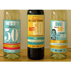 personalized wine labels for 50th birthday ; PR_299202