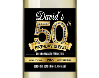 personalized wine labels for 50th birthday ; il_340x270