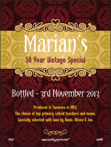 personalized wine labels for 50th birthday ; label129a