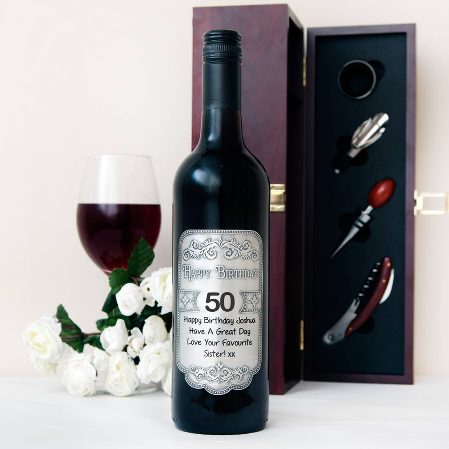 personalized wine labels for 50th birthday ; original_personalised-50th-birthday-pewter-wine-label