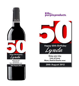 personalized wine labels for 50th birthday ; s-l300