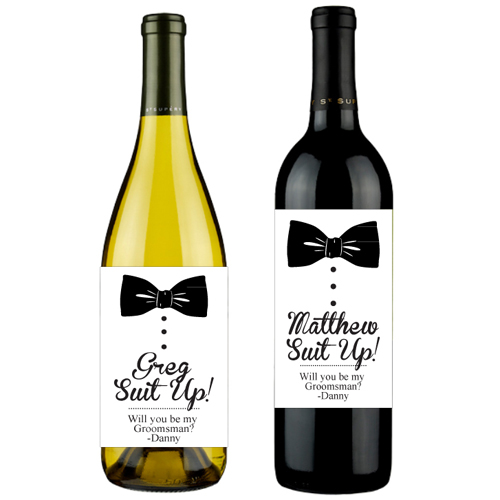 personalized wine labels for birthday ; bowtie-will-you-be-my-groomsman-personalized-wine-labels-6-pcs-wine-bottle-personalized-labels