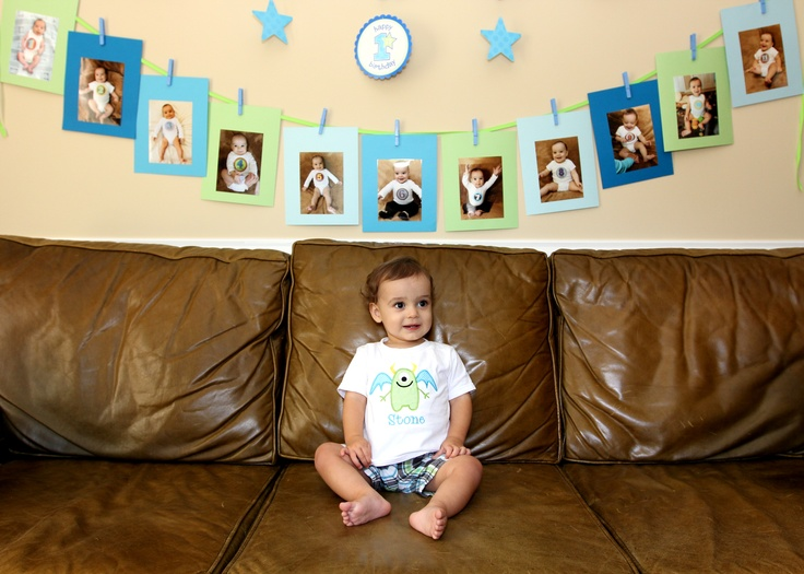 photo birthday banner first birthday ; 624aa012287c17a4a633be7ab4b88565