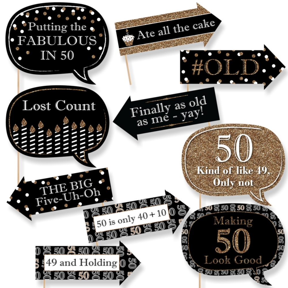 photo booth props signs birthday ; funny-adult-birthday-black-gold-50th-birthday-party-10-piece-photo-booth-props-kit