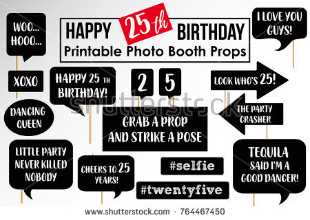 photo booth props signs birthday ; stock-vector-set-of-funny-twenty-fifth-birthday-party-photobooth-props-vector-elements-764467450