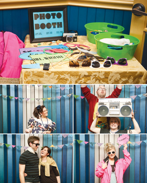 photo booth themed birthday party ; 80s-theme-birthday-party-photobooth