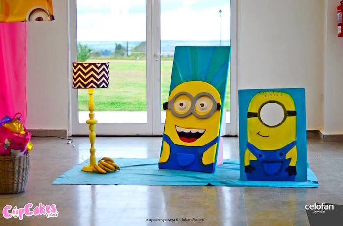 photo booth themed birthday party ; Princess-Minions-Themed-Birthday-Party-via-Karas-Party-Ideas-KarasPartyIdeas