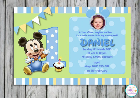 photoshop birthday invitation templates free download ; 1st-Birthday-Invitation-Card-Presenting-Small-Micjey-Mouse