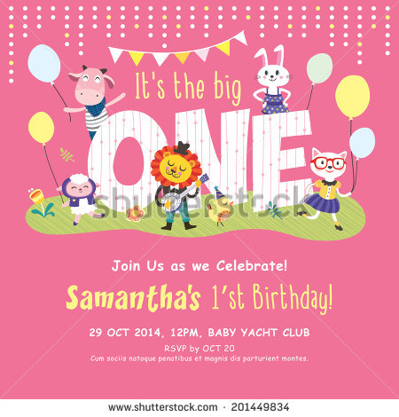 picture of invitation card of birthday ; stock-vector--st-birthday-party-invitation-card-201449834