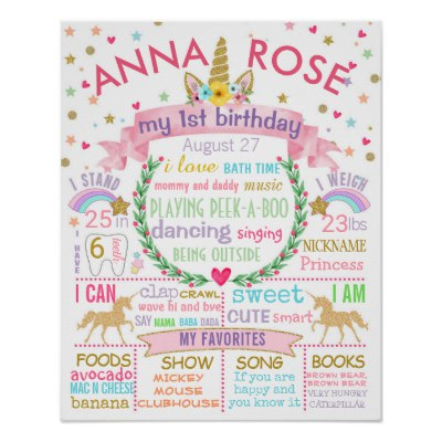 picture poster for birthday ; unicorn_first_birthday_party_sign_poster-raf555bd45ff14100beb33365fa8002cb_wvc_8byvr_400
