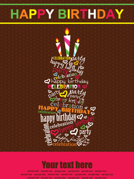 picture poster for birthday ; vector_set_of_happy_birthday_cake_card_521968
