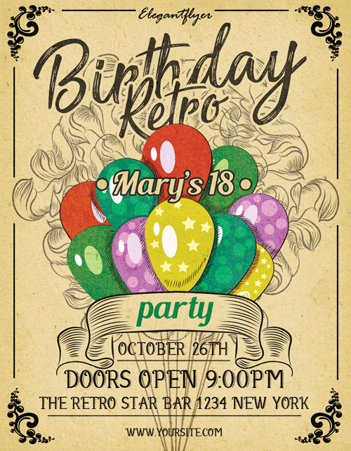 picture posters for birthday ; Birthday-Retro-Party-Free-PSD-Flyer-Template-Facebook-Cover-FreePSDFlyer-com