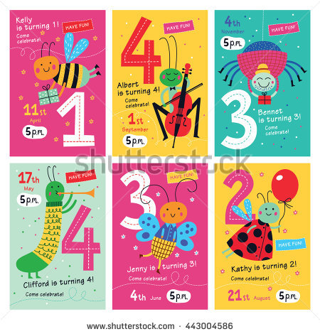 picture posters for birthday ; stock-vector-birthday-invitations-collection-of-posters-and-invitation-cards-with-cute-insects-for-kids-vector-443004586
