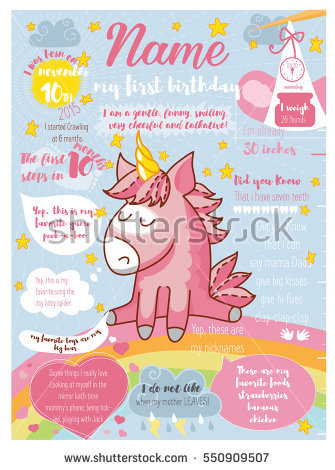 picture posters for birthday ; stock-vector-poster-s-first-birthday-with-a-unicorn-on-a-rainbow-background-blue-and-white-rays-550909507