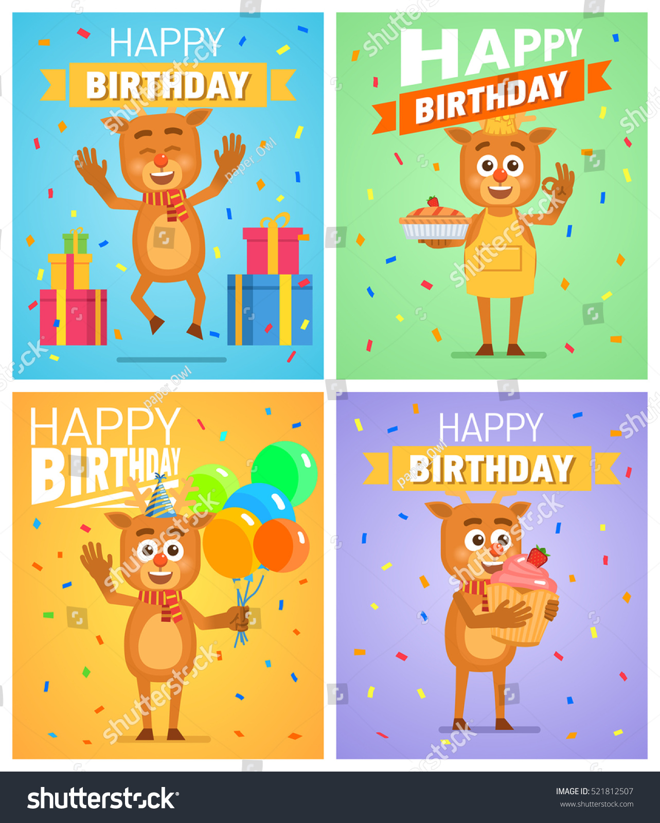 picture posters for birthday ; stock-vector-set-of-different-birthday-posters-birthday-greeting-card-placard-cheerful-reindeer-holding-521812507