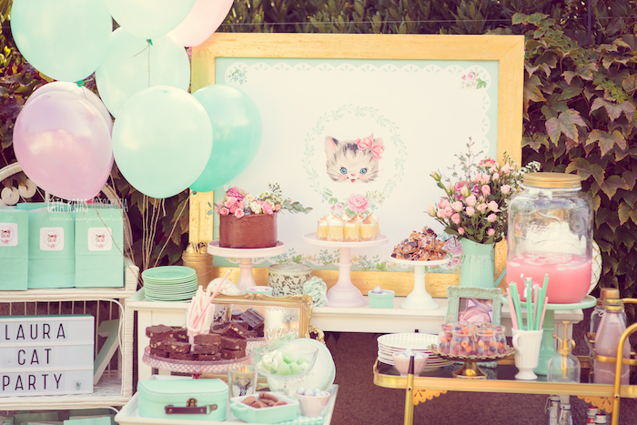 picture themed birthday party ; Whimsical-Shabby-Chic-Cat-Themed-Birthday-Party-via-Karas-Party-Ideas-KarasPartyIdeas