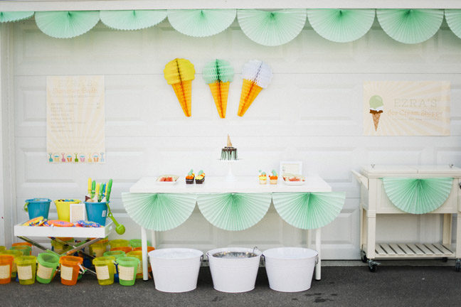 picture themed birthday party ; ice-cream-themed-birthday-party-teal