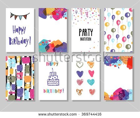 pictures of birthday cards ; stock-vector-creative-happy-birthday-cards-collection-hand-drawn-party-invitation-369744416