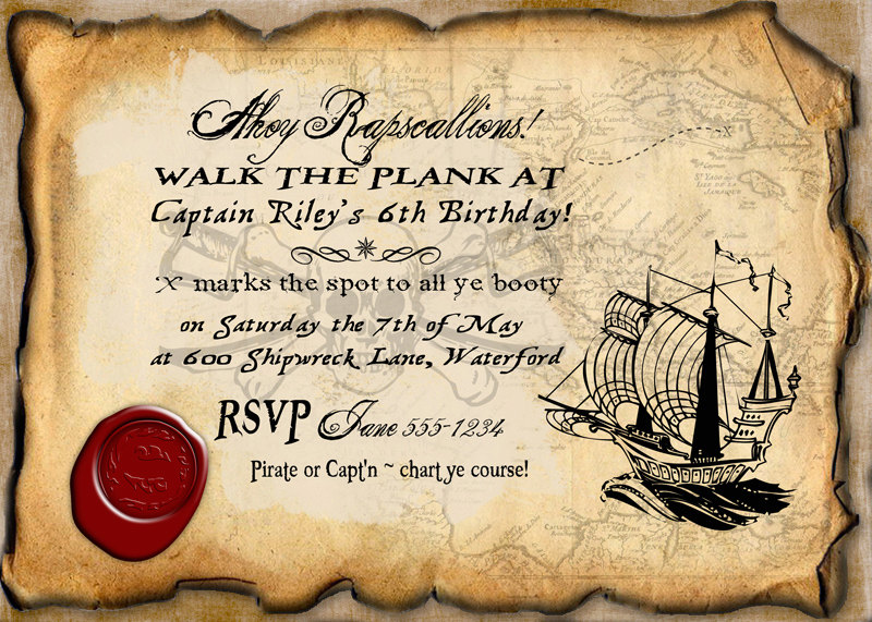 pirate themed birthday party invitation ideas ; 37193ad4102a00309e9f0d74fc399887