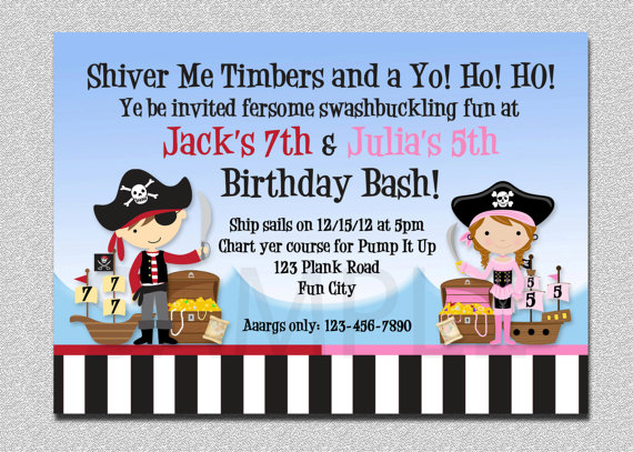 pirate themed birthday party invitation ideas ; pirate-themed-birthday-party-invitations-pirate-birthday-invitation-twins-pirate-birthday-party-template
