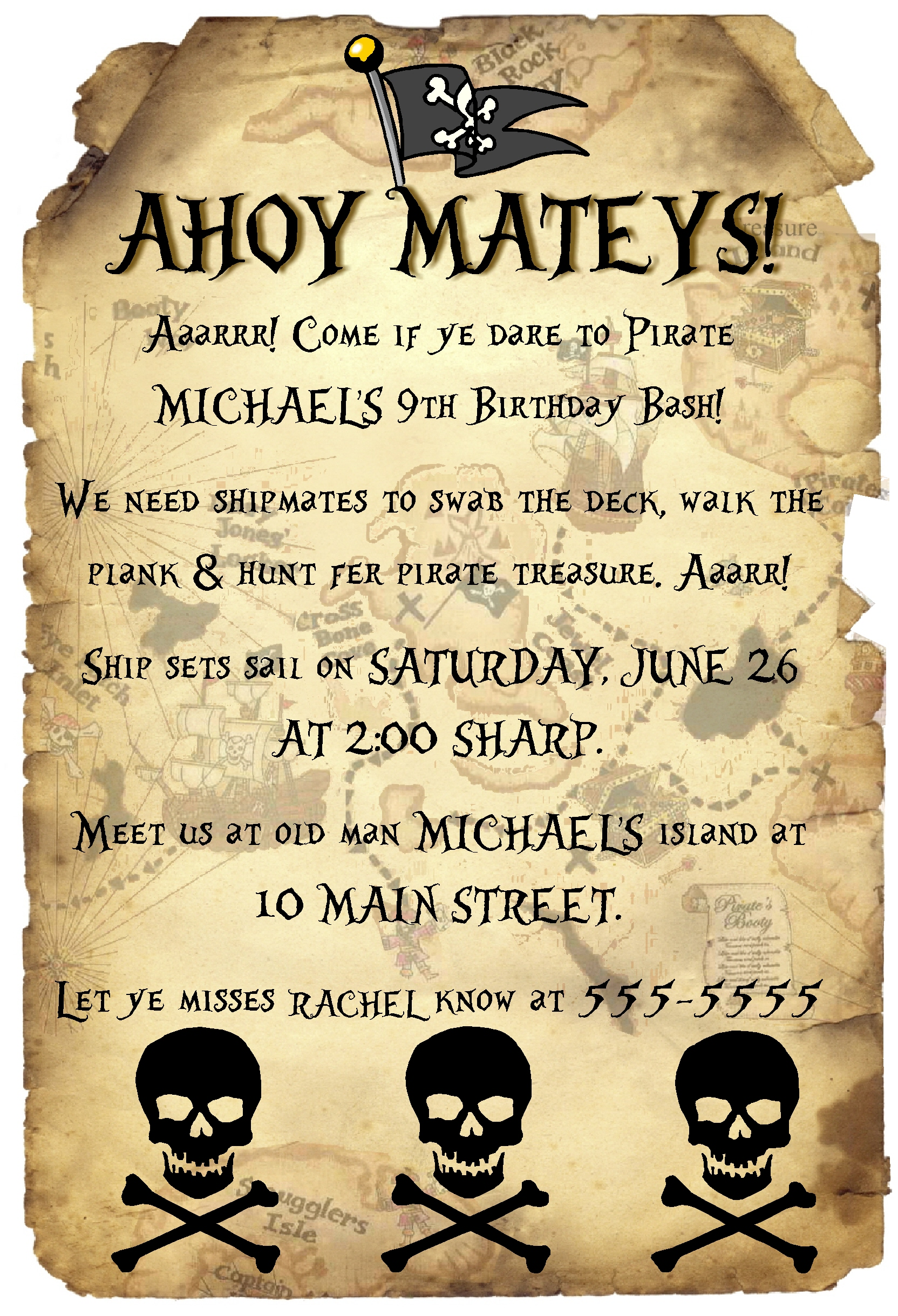 pirate themed birthday party invitation wording ; db44776a30a33ae5144cc952af252aa0