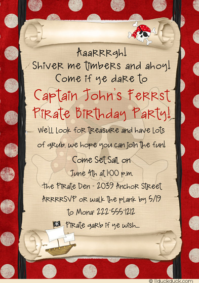 pirate themed birthday party invitation wording ; pirate-birthday-invitation-polka-dot-red-1st-party