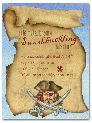 pirate themed birthday party invitation wording ; pirate-invite