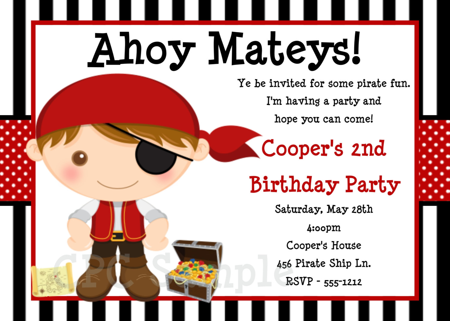 pirate themed birthday party invitation wording ; pirate1