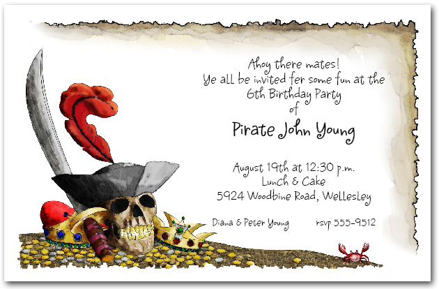 pirate themed birthday party invitation wording ; zpirates-gold-party-invitations