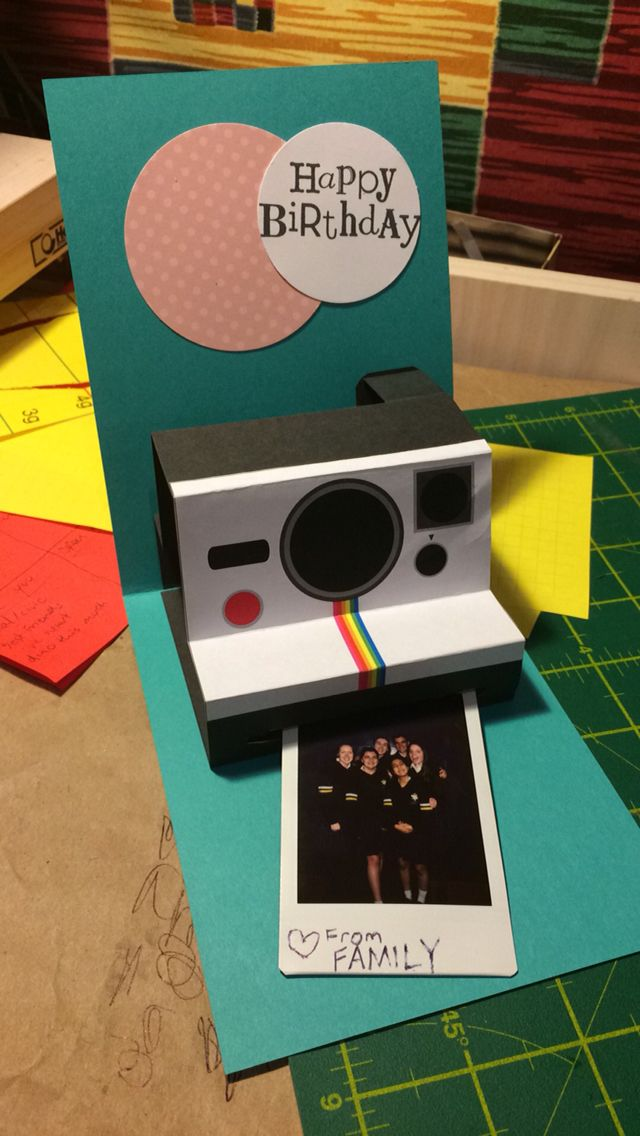 polaroid camera pop up birthday card with printable template ; a37979517a8bff1c8dae3319257490c7