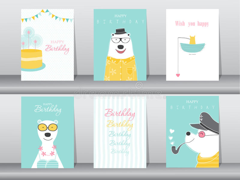 poster birthday card ; set-birthday-cards-poster-invitation-cards-template-greeting-cards-animals-bears-vector-illustrations-73792706