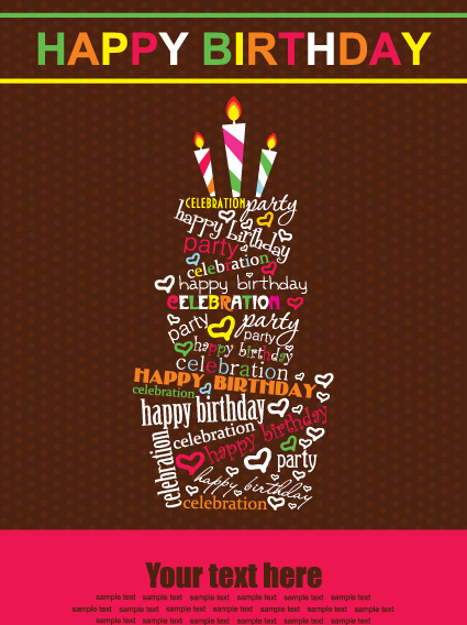 poster birthday card ; vector_set_of_happy_birthday_cake_card_521968