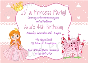 princess theme birthday invitation ; 0591-PRINCESS-NO-PICTURE-1