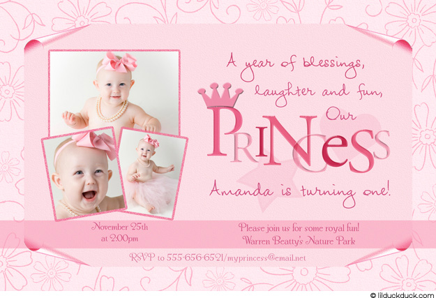 princess theme birthday invitation ; Pastel-Flower-Princess-Photo-First-Birthday-Invitation-all-pink-three-photo