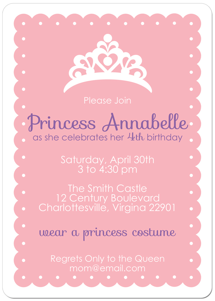 princess theme birthday invitation ; Princess-birthday-party-invitations-