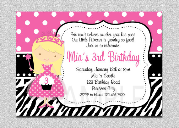 princess theme birthday invitation ; birthday-invitation-princess-theme-items-similar-to-princess-birthday-invitation-princess-zebra