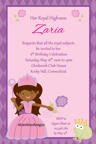 princess theme birthday invitation ; custom_african_princess_theme_birthday_party_invite_i_create_you_print_02584f38