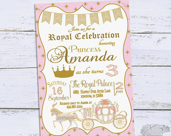 princess theme birthday invitation ; il_340x270