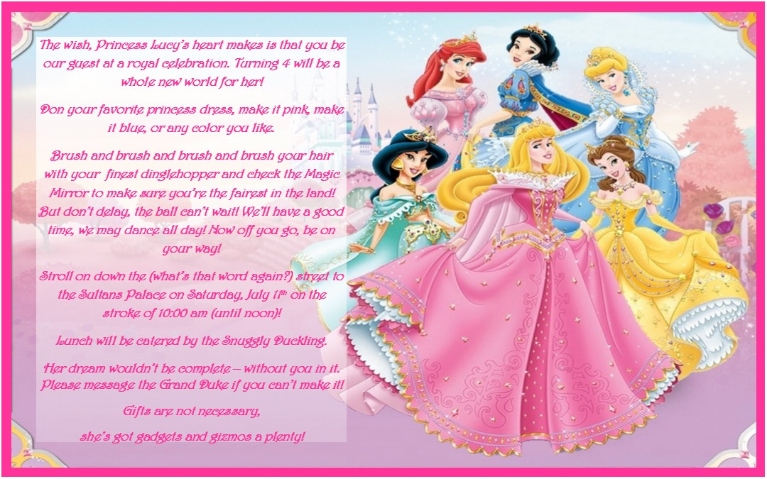 princess themed birthday party invitation wording ; Disney-Princess-Invitation-