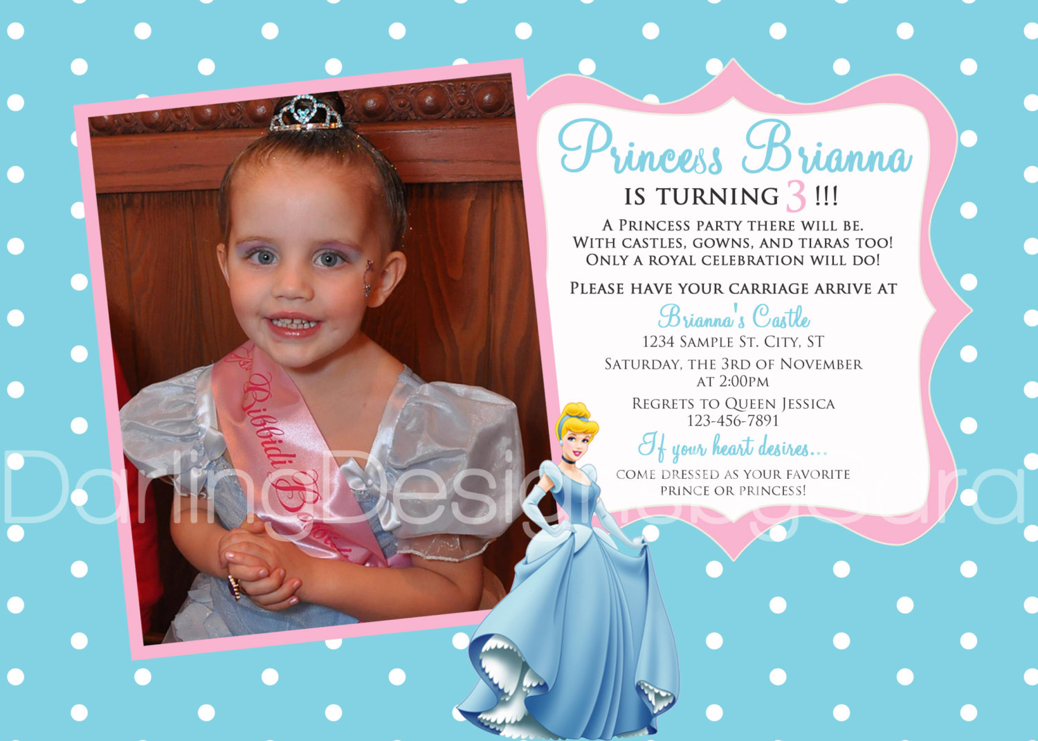 princess themed birthday party invitation wording ; aa04433ade03946081e373ddca43ccd7