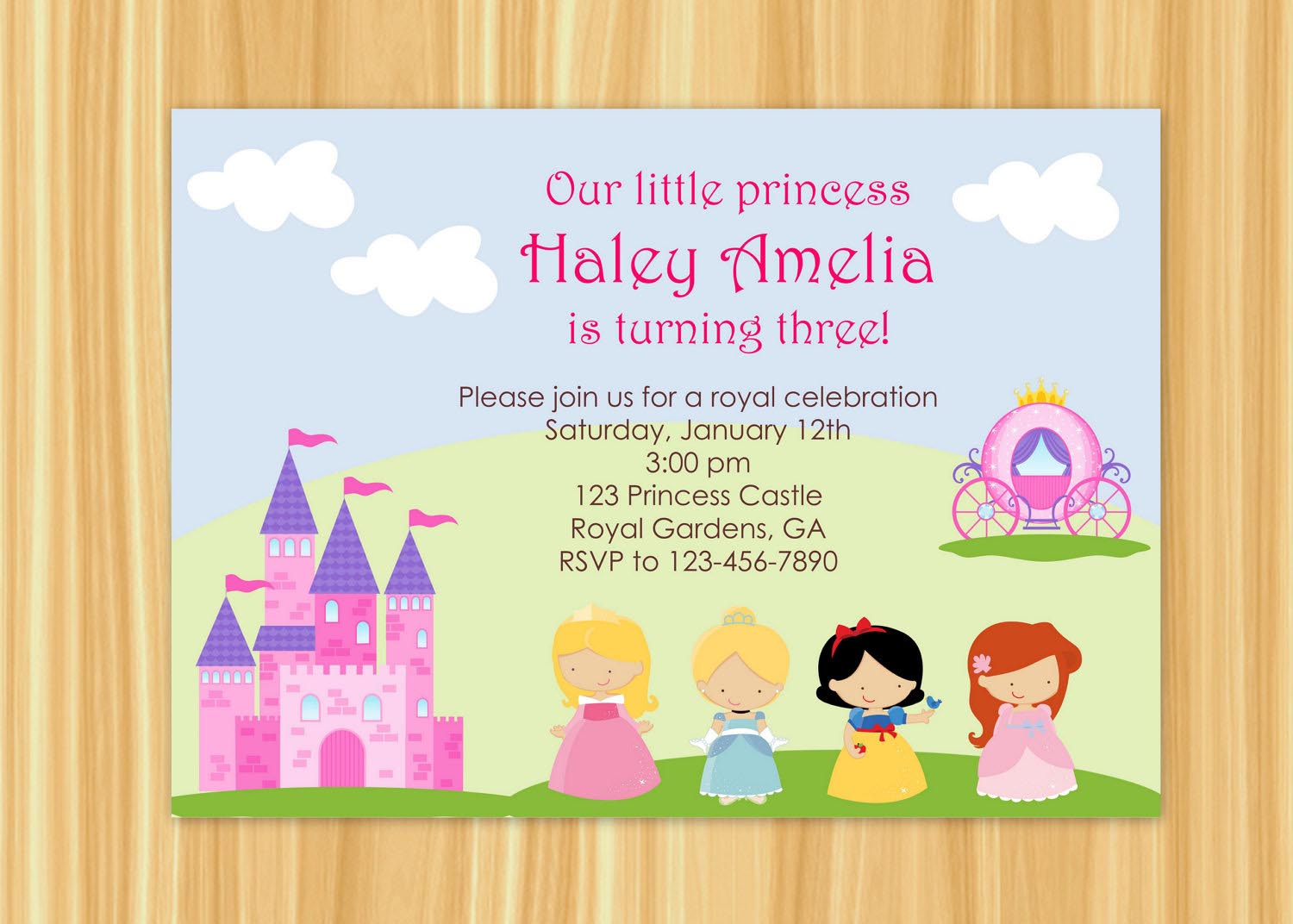 princess themed birthday party invitation wording ; princess-party-invitations-wording