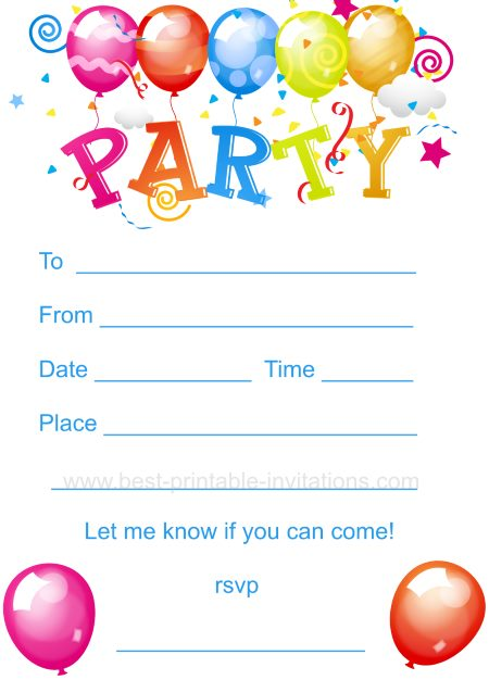 Printable Birthday Party Invitations For 12 Year