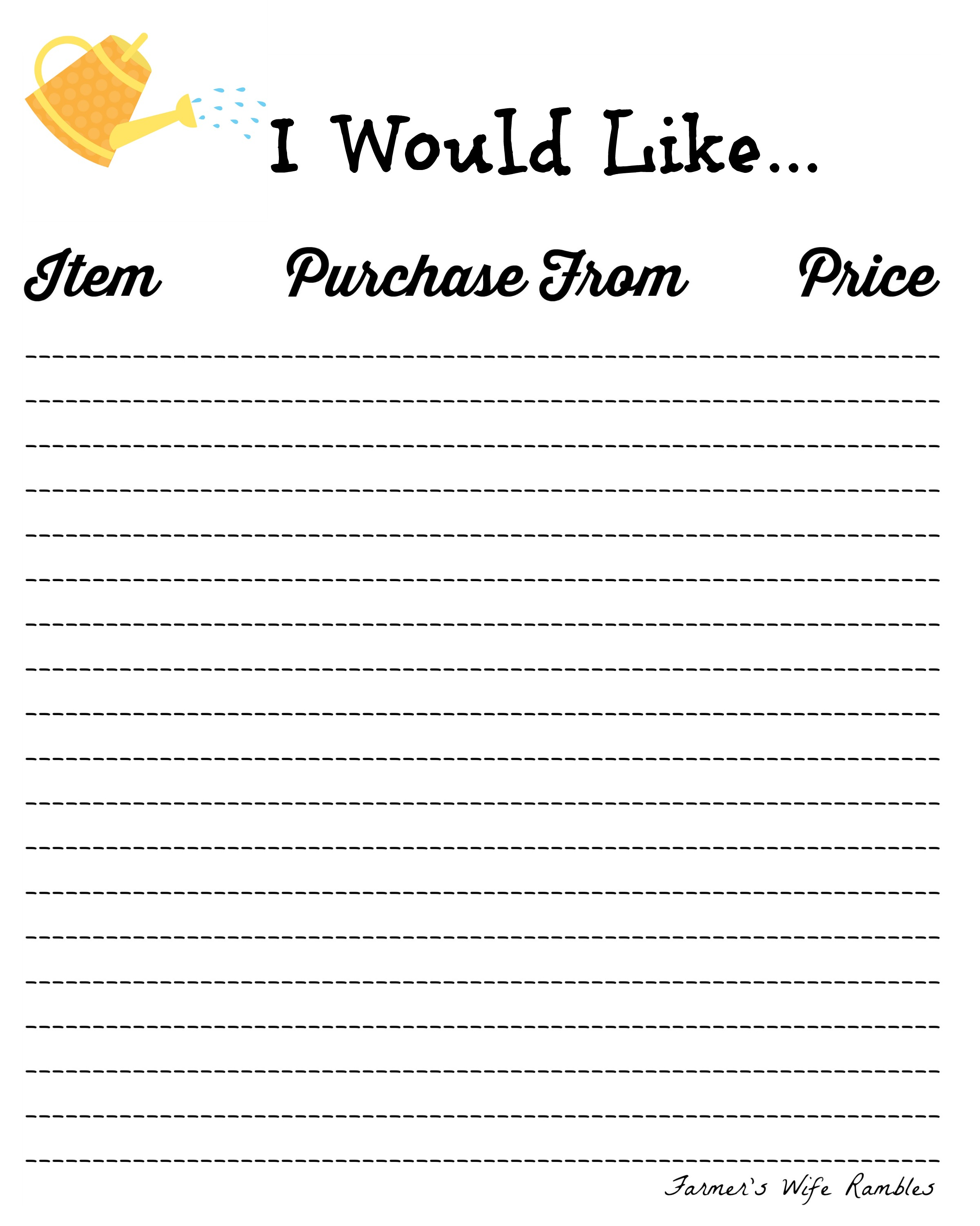 printable birthday wish list template ; I-Would-Like-Yellow-Watering-Can