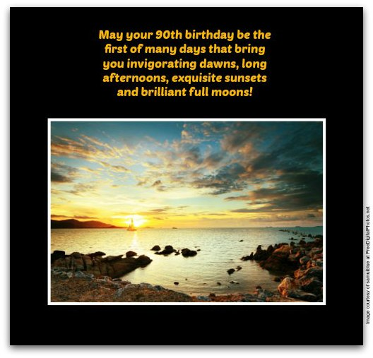 quotes for 90th birthday card ; Sunset4